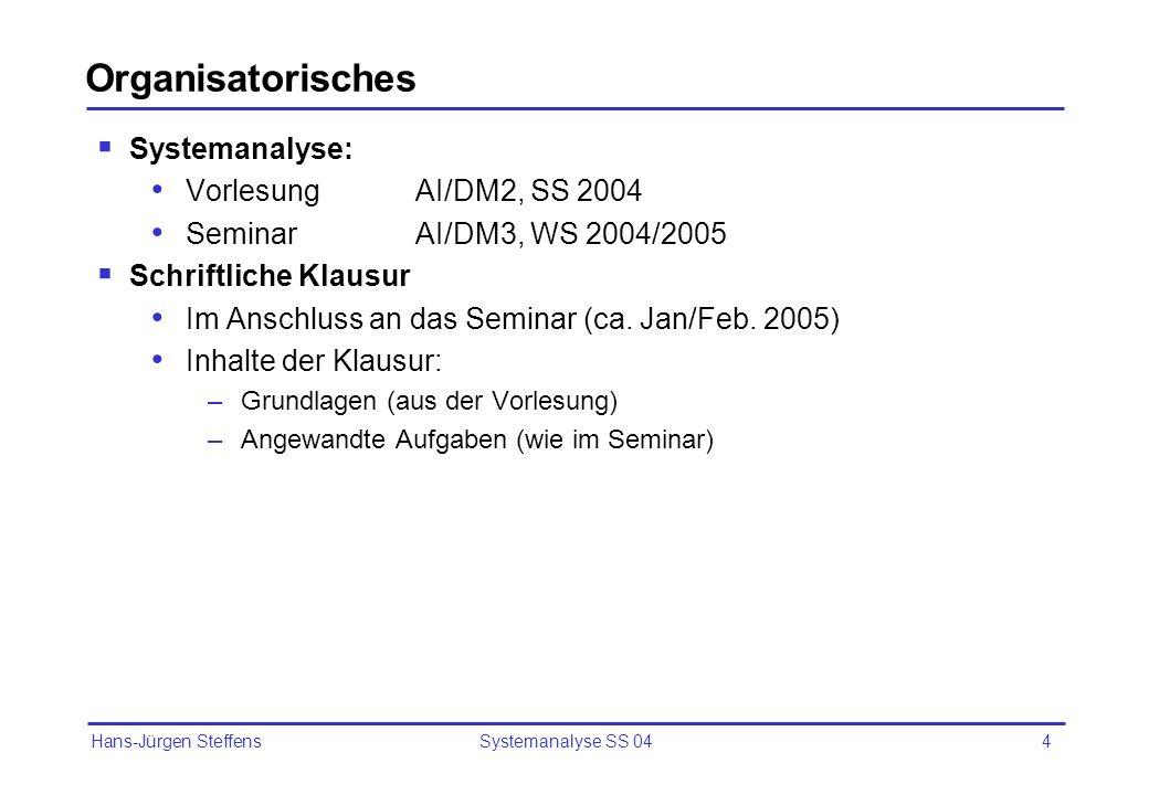 Hans-Jürgen Steffens Systemanalyse SS 044 Organisatorisches Systemanalyse: Vorlesung AI/DM2, SS 2004 Seminar AI/DM3, WS 2004/2005 Schriftliche Klausur