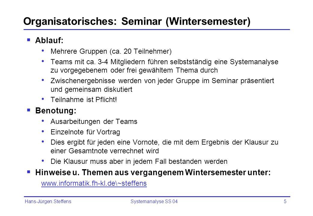 Hans-Jürgen Steffens Systemanalyse SS 045 Organisatorisches: Seminar (Wintersemester) Ablauf: Mehrere Gruppen (ca. 20 Teilnehmer) Teams mit ca. 3-4 Mi