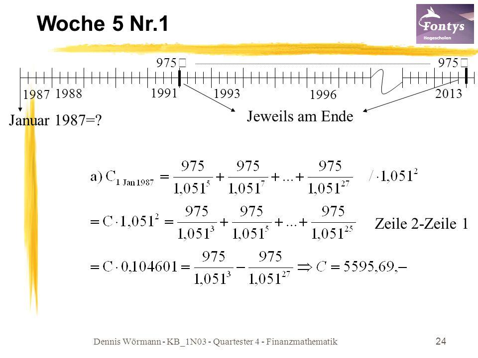 Dennis Wörmann - KB_1N03 - Quartester 4 - Finanzmathematik24 Woche 5 Nr.1 Zeile 2-Zeile 1 1987 1988 1993 Januar 1987=? 1996 2013 975€ Jeweils am Ende