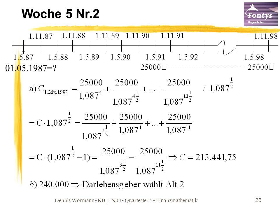 Dennis Wörmann - KB_1N03 - Quartester 4 - Finanzmathematik25 Woche 5 Nr.2 1.5.87 1.11.87 01.05.1987=? 25000€ 1.5.88 1.11.88 1.11.891.11.901.11.91 1.5.