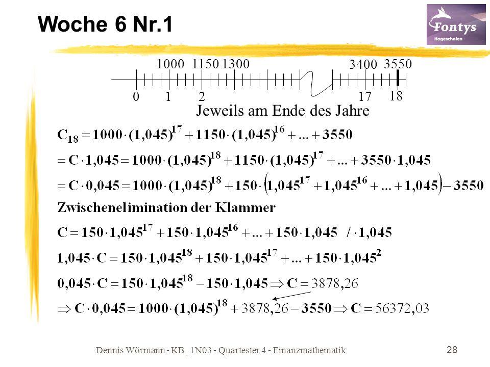 Dennis Wörmann - KB_1N03 - Quartester 4 - Finanzmathematik28 Woche 6 Nr.1 01 18 1000 3400 Jeweils am Ende des Jahre 2 17 115013003550