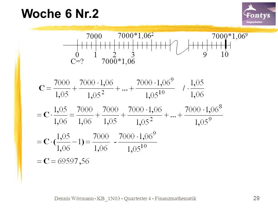 Dennis Wörmann - KB_1N03 - Quartester 4 - Finanzmathematik29 Woche 6 Nr.2 01 10 7000 2 9 7000*1,06 7000*1,06 2 7000*1,06 9 3 C=?