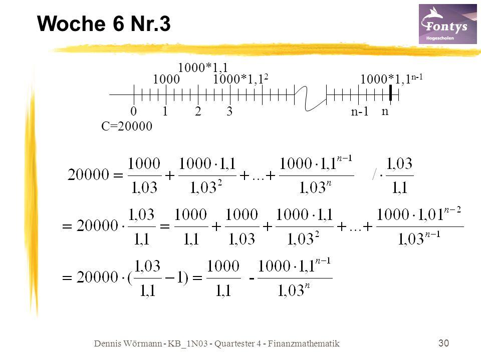 Dennis Wörmann - KB_1N03 - Quartester 4 - Finanzmathematik30 Woche 6 Nr.3 01 n C=20000 2 n-1 1000 1000*1,1 1000*1,1 2 3 1000*1,1 n-1