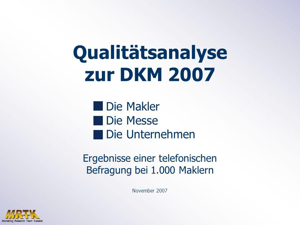 Qualitätsanalyse zur DKM 2007 Die Makler Die Messe Die Unternehmen Ergebnisse einer telefonischen Befragung bei 1.000 Maklern November 2007 Marketing Research Team Kieseler