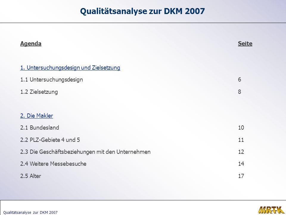 Qualitätsanalyse zur DKM 2007 Agenda 1.