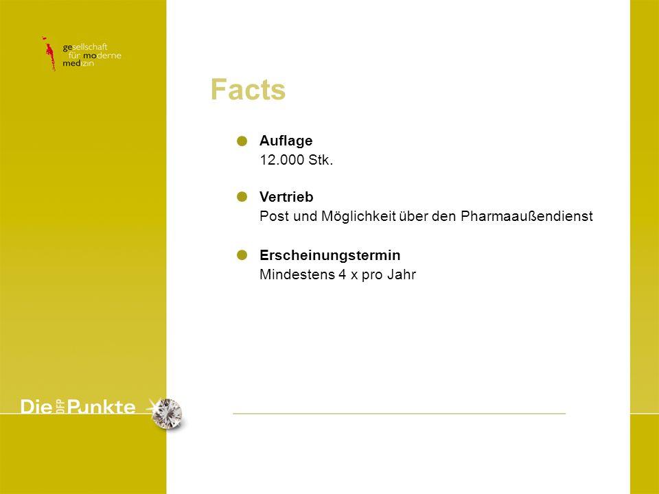 Facts Auflage 12.000 Stk. Vertrieb Post und Möglichkeit über den Pharmaaußendienst Erscheinungstermin Mindestens 4 x pro Jahr