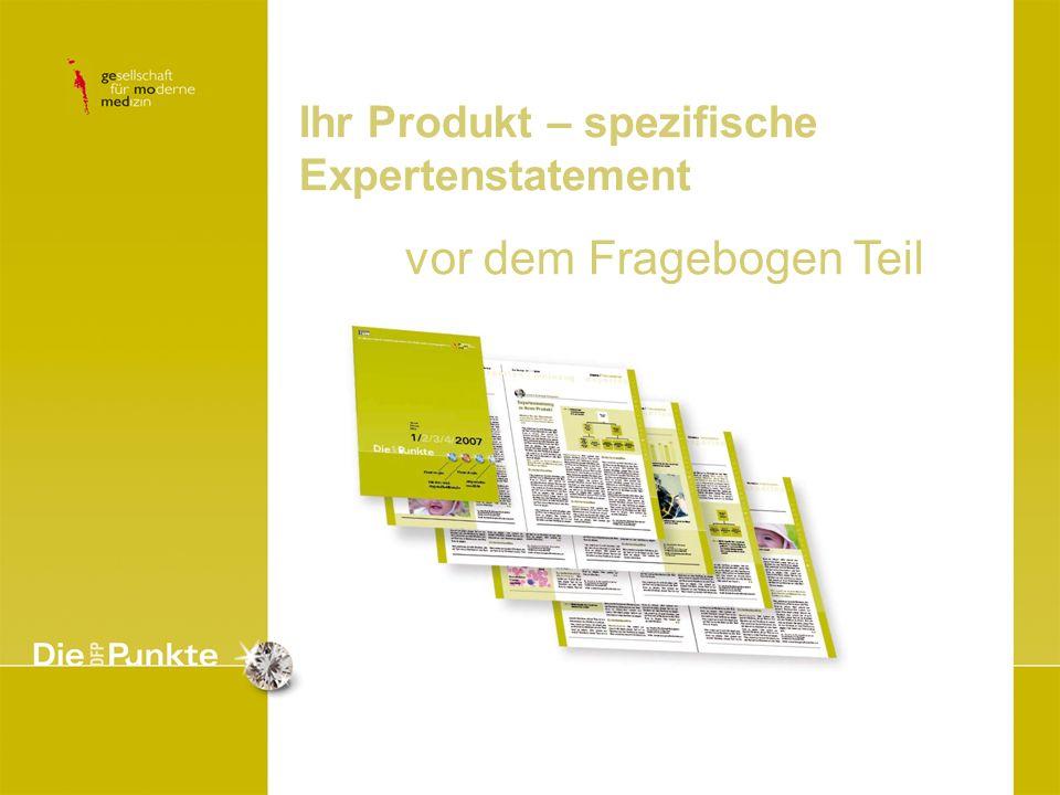Ihr Produkt – spezifische Expertenstatement vor dem Fragebogen Teil Abbildung