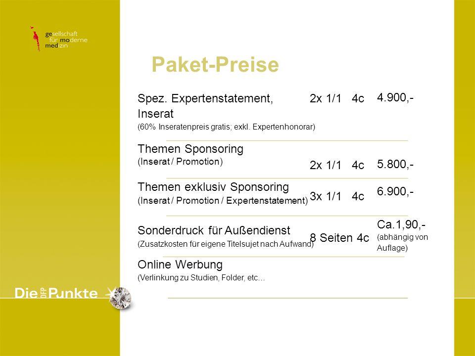 Paket-Preise Spez. Expertenstatement, Inserat (60% Inseratenpreis gratis; exkl. Expertenhonorar) Themen Sponsoring (Inserat / Promotion) Themen exklus