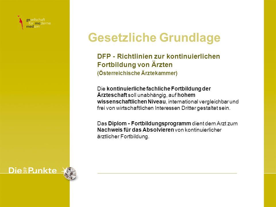 DFP - Richtlinien zur kontinuierlichen Fortbildung von Ärzten (Österreichische Ärztekammer) Die kontinuierliche fachliche Fortbildung der Ärzteschaft