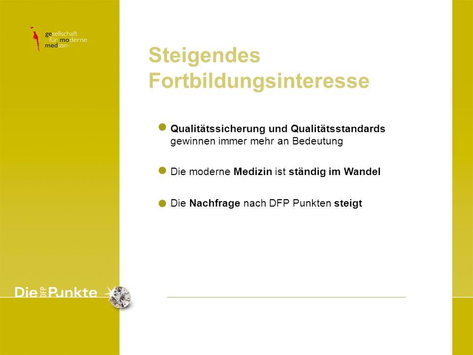 Qualitätssicherung und Qualitätsstandards gewinnen immer mehr an Bedeutung Die moderne Medizin ist ständig im Wandel Die Nachfrage nach DFP Punkten st