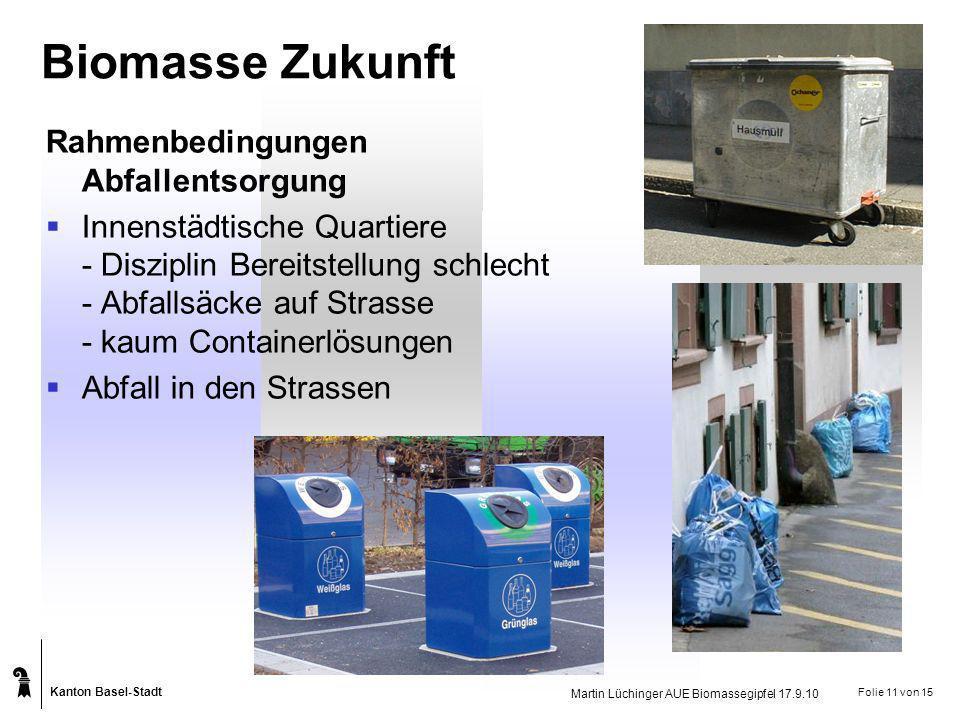 Kanton Basel-Stadt Martin Lüchinger AUE Biomassegipfel 17.9.10 Folie 11 von 15 Biomasse Zukunft Rahmenbedingungen Abfallentsorgung Innenstädtische Qua