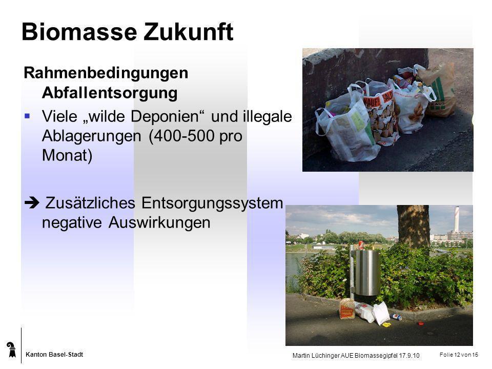 Kanton Basel-Stadt Martin Lüchinger AUE Biomassegipfel 17.9.10 Folie 12 von 15 Biomasse Zukunft Rahmenbedingungen Abfallentsorgung Viele wilde Deponie