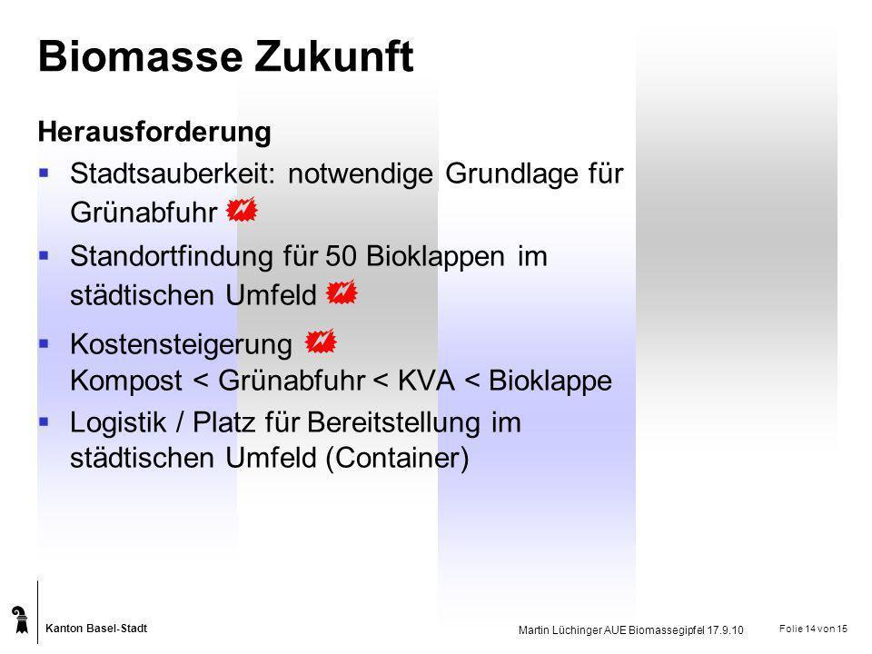 Kanton Basel-Stadt Martin Lüchinger AUE Biomassegipfel 17.9.10 Folie 14 von 15 Biomasse Zukunft Herausforderung Stadtsauberkeit: notwendige Grundlage