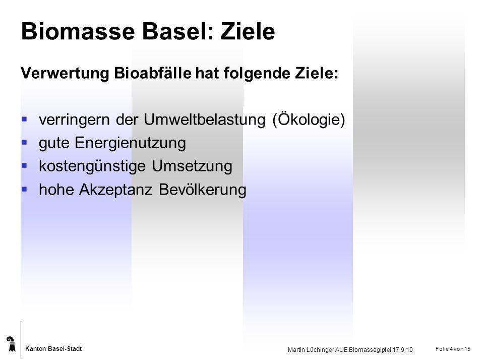 Kanton Basel-Stadt Martin Lüchinger AUE Biomassegipfel 17.9.10 Folie 4 von 15 Biomasse Basel: Ziele Verwertung Bioabfälle hat folgende Ziele: verringe