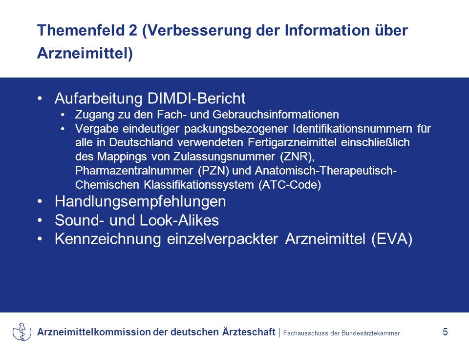Arzneimittelkommission der deutschen Ärzteschaft | Fachausschuss der Bundesärztekammer 5 Themenfeld 2 (Verbesserung der Information über Arzneimittel) Aufarbeitung DIMDI-Bericht Zugang zu den Fach- und Gebrauchsinformationen Vergabe eindeutiger packungsbezogener Identifikationsnummern für alle in Deutschland verwendeten Fertigarzneimittel einschließlich des Mappings von Zulassungsnummer (ZNR), Pharmazentralnummer (PZN) und Anatomisch-Therapeutisch- Chemischen Klassifikationssystem (ATC-Code) Handlungsempfehlungen Sound- und Look-Alikes Kennzeichnung einzelverpackter Arzneimittel (EVA)