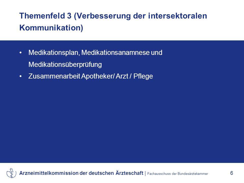 Arzneimittelkommission der deutschen Ärzteschaft | Fachausschuss der Bundesärztekammer 6 Themenfeld 3 (Verbesserung der intersektoralen Kommunikation) Medikationsplan, Medikationsanamnese und Medikationsüberprüfung Zusammenarbeit Apotheker/ Arzt / Pflege