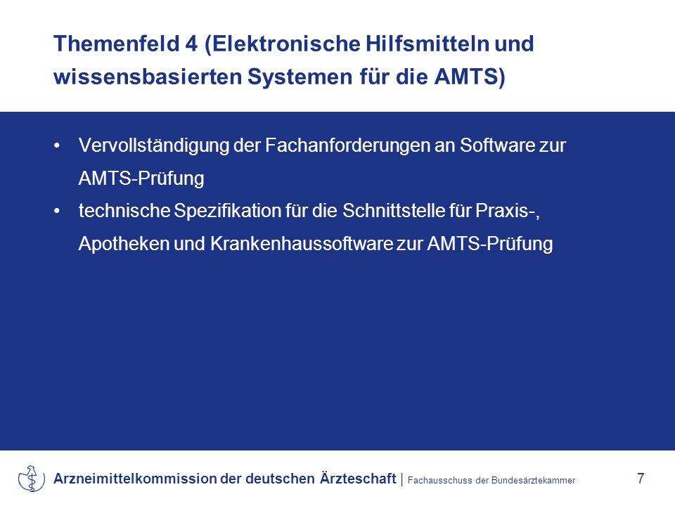 Arzneimittelkommission der deutschen Ärzteschaft   Fachausschuss der Bundesärztekammer 8 Themenfeld 5 (AMTS-Forschung) Erarbeitung von Vorschlägen für Forschungsthemen einschließlich der Evaluierung Vorlage eines Berichtes über die Ergebnisse der AMTS- Forschung Modellprojekt zentrale Erfassung und Bewertung von Medikationsfehlern