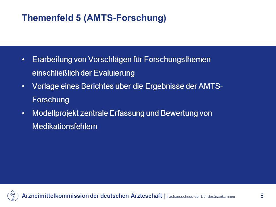 Arzneimittelkommission der deutschen Ärzteschaft | Fachausschuss der Bundesärztekammer 8 Themenfeld 5 (AMTS-Forschung) Erarbeitung von Vorschlägen für Forschungsthemen einschließlich der Evaluierung Vorlage eines Berichtes über die Ergebnisse der AMTS- Forschung Modellprojekt zentrale Erfassung und Bewertung von Medikationsfehlern