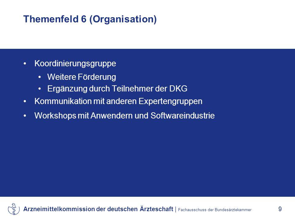 Arzneimittelkommission der deutschen Ärzteschaft | Fachausschuss der Bundesärztekammer 9 Themenfeld 6 (Organisation) Koordinierungsgruppe Weitere Förderung Ergänzung durch Teilnehmer der DKG Kommunikation mit anderen Expertengruppen Workshops mit Anwendern und Softwareindustrie