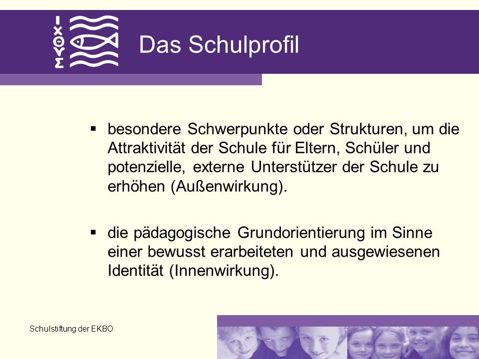Schulstiftung der EKBO Das Schulprofil besondere Schwerpunkte oder Strukturen, um die Attraktivität der Schule für Eltern, Schüler und potenzielle, ex