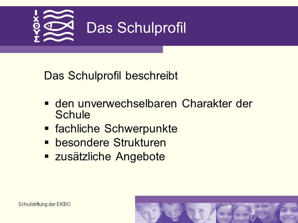 Schulstiftung der EKBO Das Schulprofil Das Schulprofil beschreibt den unverwechselbaren Charakter der Schule fachliche Schwerpunkte besondere Struktur