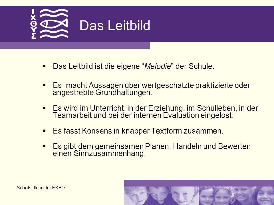 Schulstiftung der EKBO Das Leitbild Das Leitbild ist die eigene Melodie der Schule. Es macht Aussagen über wertgeschätzte praktizierte oder angestrebt