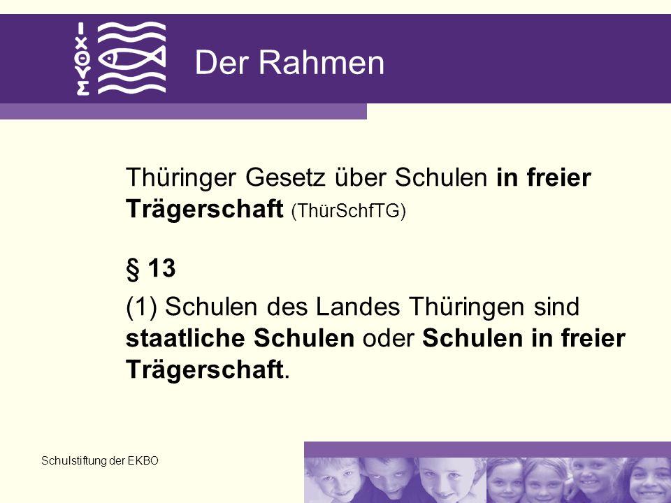 Schulstiftung der EKBO Der Rahmen Thüringer Gesetz über Schulen in freier Trägerschaft (ThürSchfTG) § 13 (1) Schulen des Landes Thüringen sind staatliche Schulen oder Schulen in freier Trägerschaft.