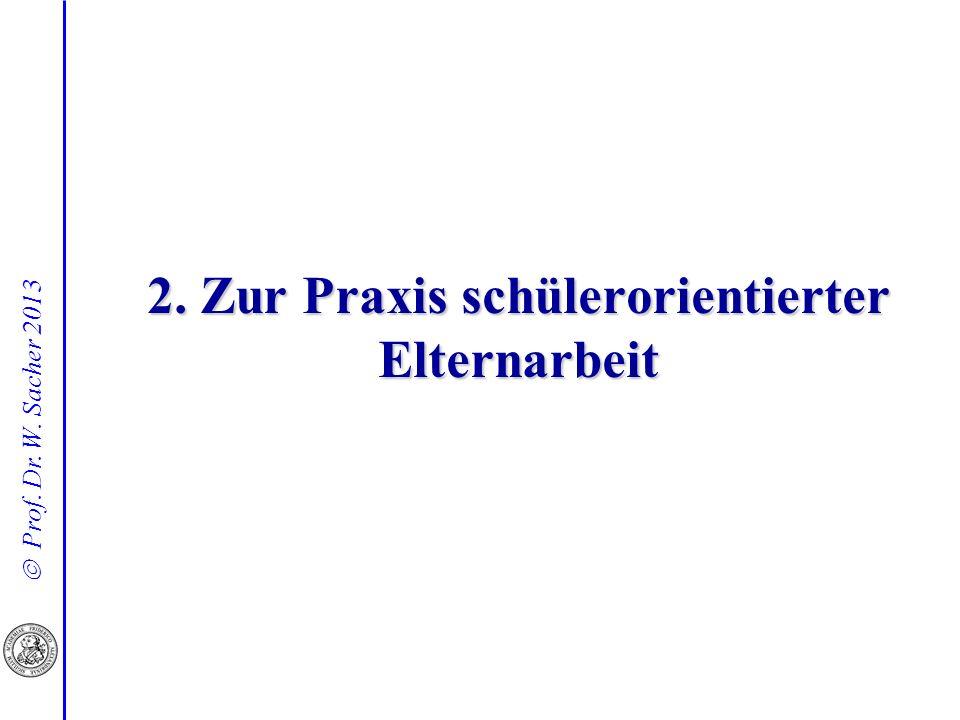 Prof. Dr. W. Sacher 2013 2. Zur Praxis schülerorientierter Elternarbeit