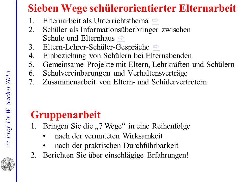 Prof. Dr. W. Sacher 2013 Sieben Wege schülerorientierter Elternarbeit 1.Elternarbeit als Unterrichtsthema 2.Schüler als Informationsüberbringer zwisch