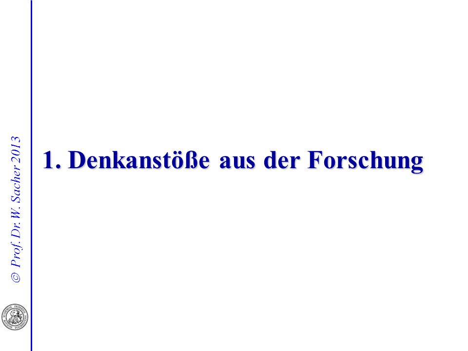 Prof.Dr. W. Sacher 2013 Ein irritierendes Forschungsergebnis Daten aus 10 Schulen des bayer.