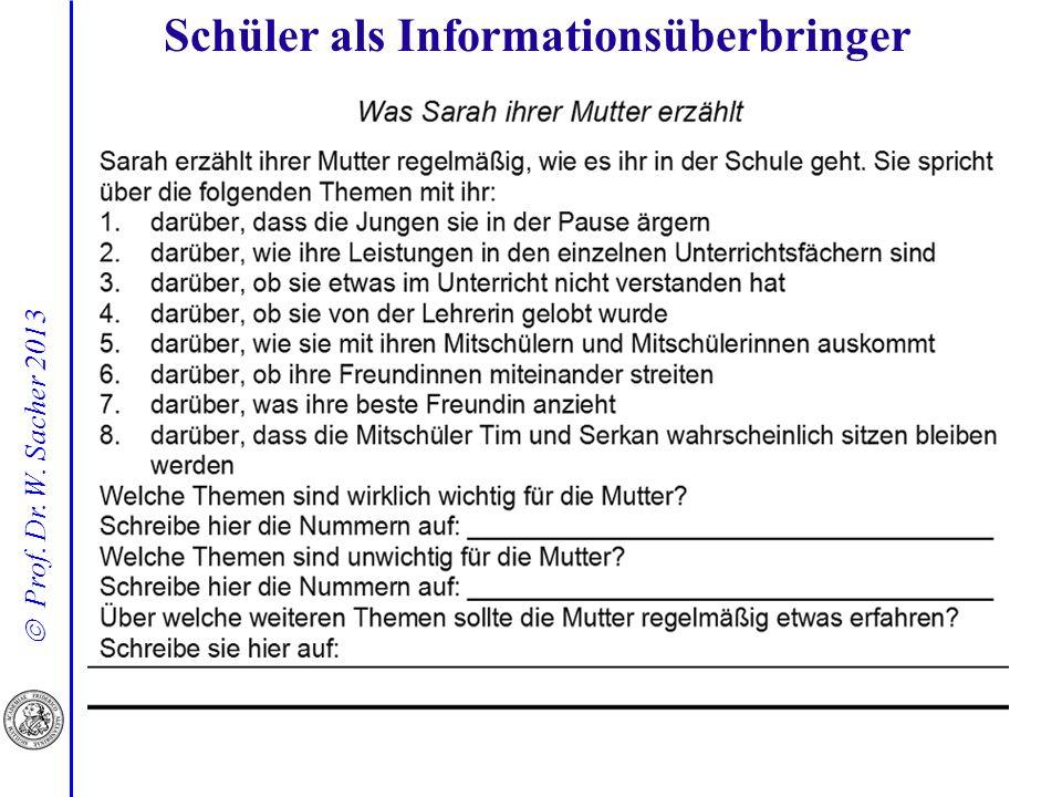 Prof. Dr. W. Sacher 2013 Schüler als Informationsüberbringer