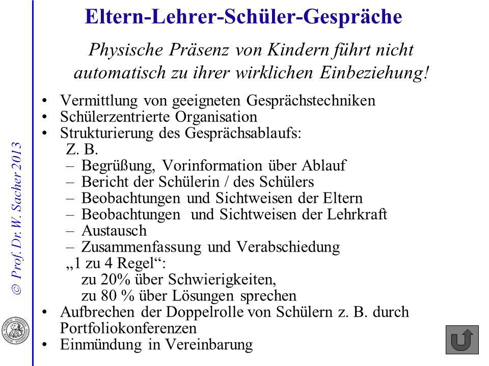 Prof. Dr. W. Sacher 2013 Vermittlung von geeigneten Gesprächstechniken Schülerzentrierte Organisation Strukturierung des Gesprächsablaufs: Z. B. –Begr