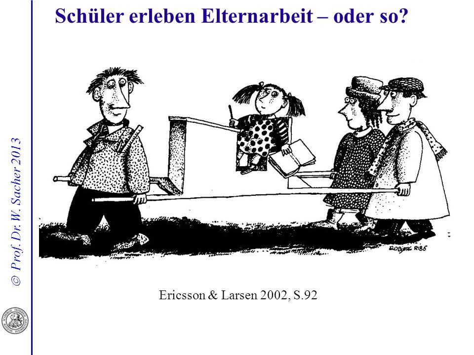 Prof. Dr. W. Sacher 2013 Schüler erleben Elternarbeit – oder so? Ericsson & Larsen 2002, S.92