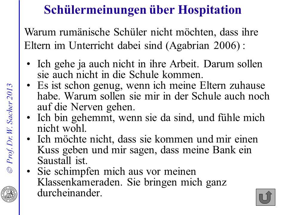 Prof. Dr. W. Sacher 2013 Schülermeinungen über Hospitation Warum rumänische Schüler nicht möchten, dass ihre Eltern im Unterricht dabei sind (Agabrian
