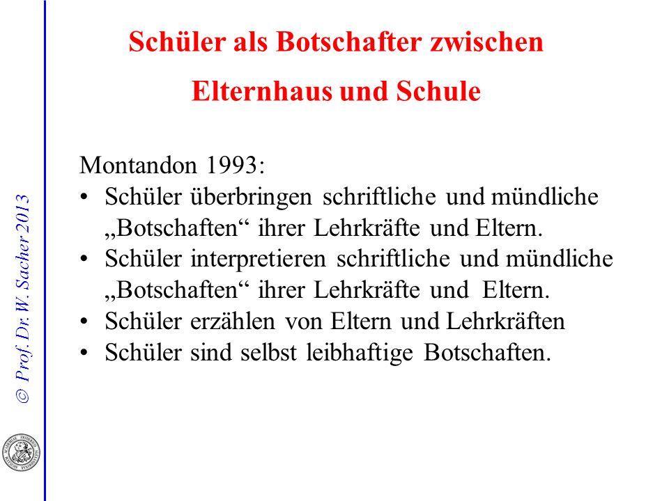 Prof. Dr. W. Sacher 2013 Schüler als Botschafter zwischen Elternhaus und Schule Montandon 1993: Schüler überbringen schriftliche und mündliche Botscha