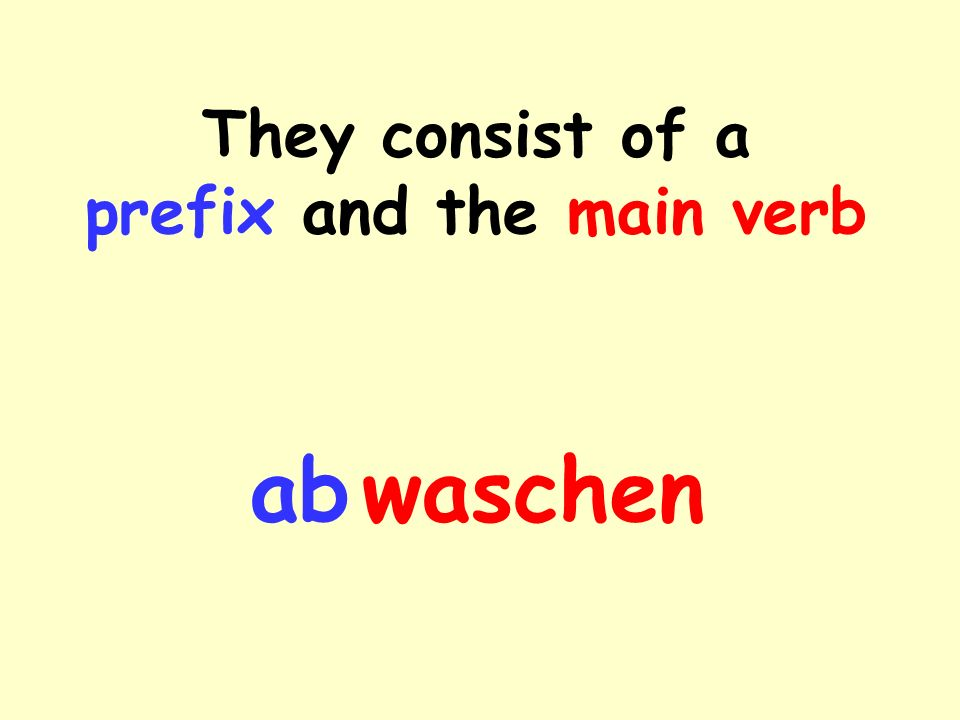 In the perfect tense… … the past participle is made up by sticking the prefix in front of the past participle of the actual verb.