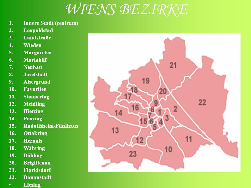 WIENS BEZIRKE 1.Innere Stadt (centrum) 2.Leopoldstad 3.Landstraße 4.Wieden 5.Margareten 6.Mariahilf 7.Neubau 8.Josefstadt 9.Alsergrund 10.Favoriten 11