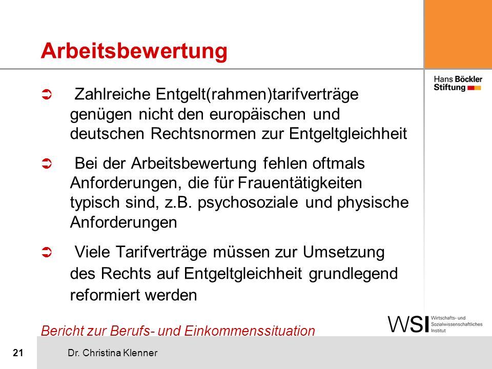 Dr. Christina Klenner21 Arbeitsbewertung Ü Zahlreiche Entgelt(rahmen)tarifverträge genügen nicht den europäischen und deutschen Rechtsnormen zur Entge