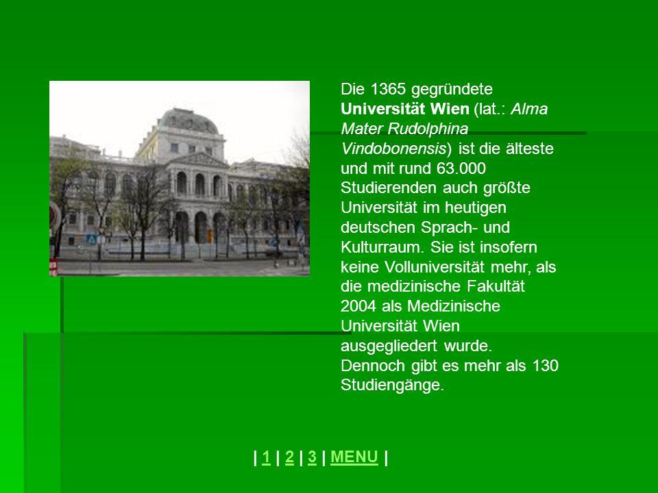 Die 1365 gegründete Universität Wien (lat.: Alma Mater Rudolphina Vindobonensis) ist die älteste und mit rund 63.000 Studierenden auch größte Universi