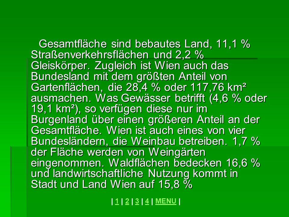 Gesamtfläche sind bebautes Land, 11,1 % Straßenverkehrsflächen und 2,2 % Gleiskörper. Zugleich ist Wien auch das Bundesland mit dem größten Anteil von