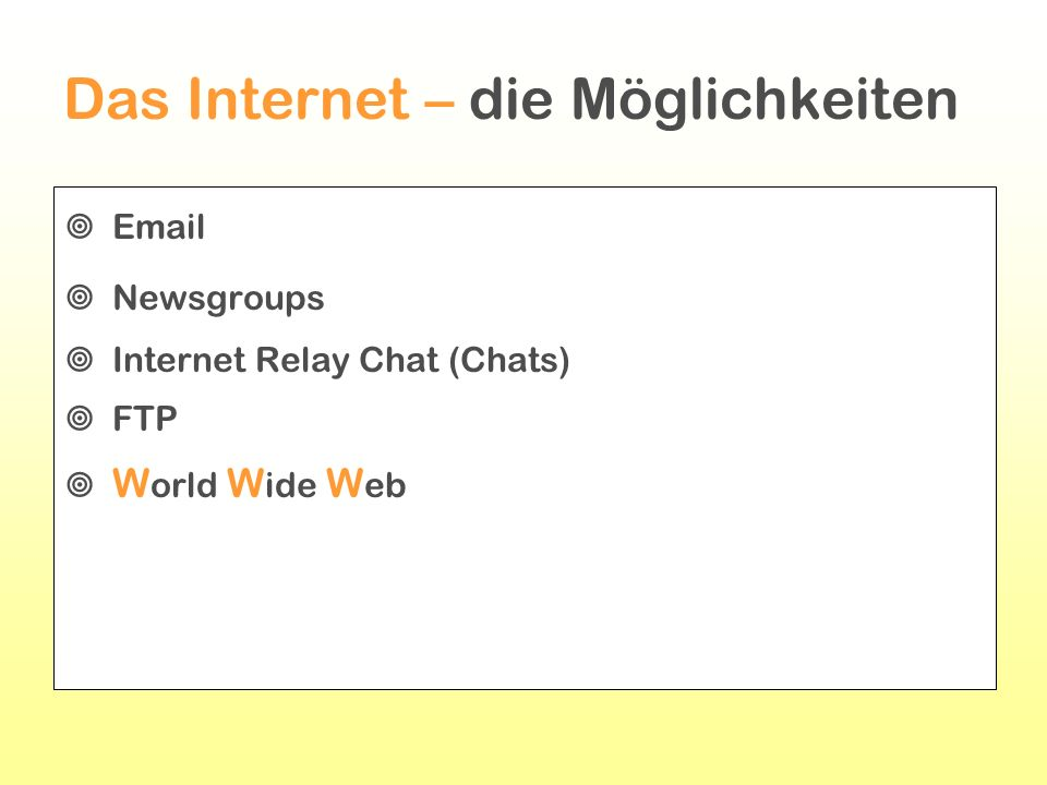 Das Internet – die Möglichkeiten Email Newsgroups Internet Relay Chat (Chats) FTP W orld W ide W eb