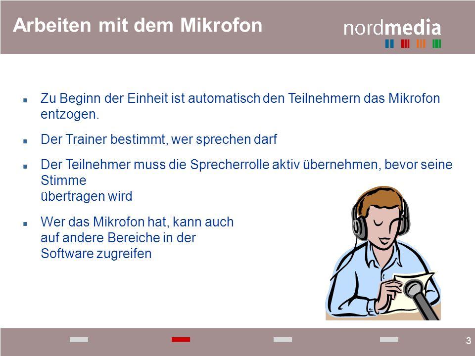3 Arbeiten mit dem Mikrofon n Zu Beginn der Einheit ist automatisch den Teilnehmern das Mikrofon entzogen. n Der Trainer bestimmt, wer sprechen darf n