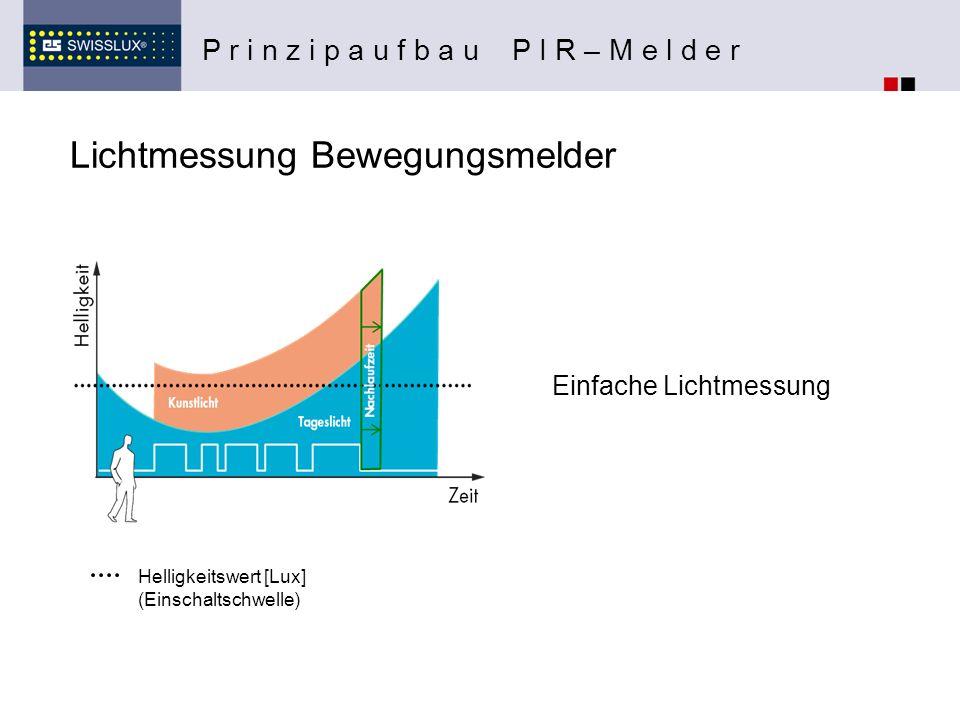 Lichtmessung Bewegungsmelder P r i n z i p a u f b a u P I R – M e l d e r Einfache Lichtmessung Helligkeitswert [Lux] (Einschaltschwelle)
