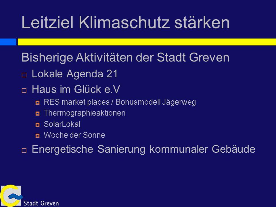 Leitziel Klimaschutz stärken Aktuelle Aktivitäten der Stadt Greven European Energy Award Integriertes Klimaschutzkonzept