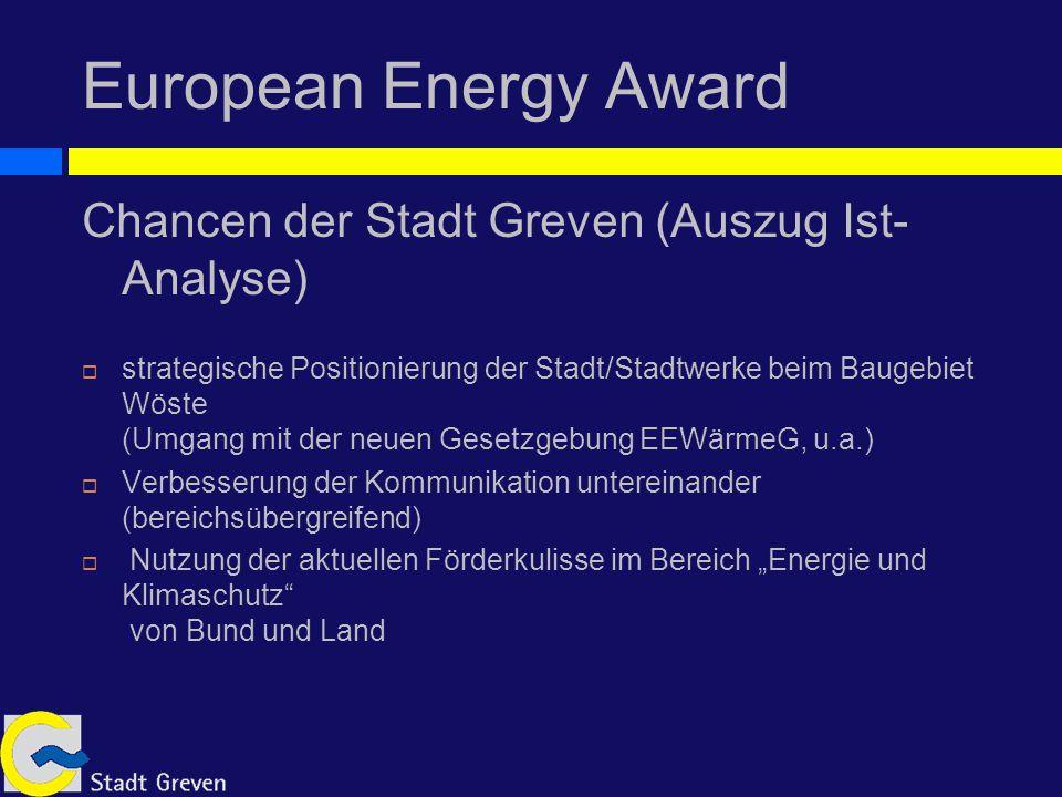European Energy Award Chancen der Stadt Greven (Auszug Ist- Analyse) strategische Positionierung der Stadt/Stadtwerke beim Baugebiet Wöste (Umgang mit der neuen Gesetzgebung EEWärmeG, u.a.) Verbesserung der Kommunikation untereinander (bereichsübergreifend) Nutzung der aktuellen Förderkulisse im Bereich Energie und Klimaschutz von Bund und Land
