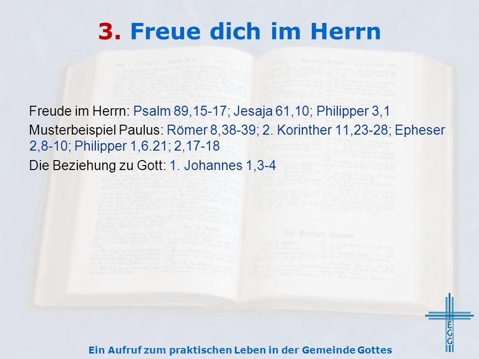 3. Freue dich im Herrn Freude im Herrn: Psalm 89,15-17; Jesaja 61,10; Philipper 3,1 Musterbeispiel Paulus: Römer 8,38-39; 2. Korinther 11,23-28; Ephes