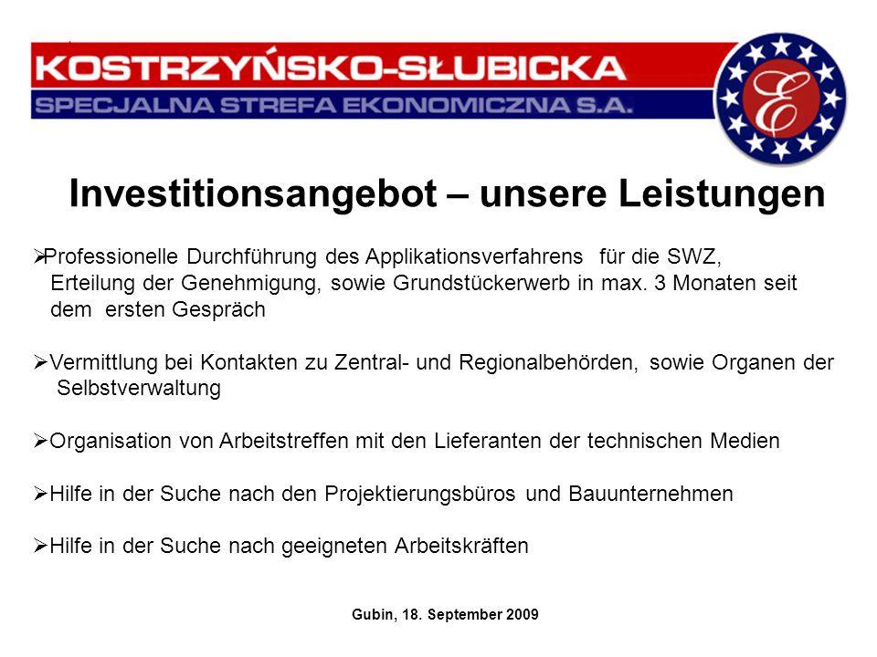 Investitionsangebot – unsere Leistungen Gubin, 18. September 2009 Professionelle Durchführung des Applikationsverfahrens für die SWZ, Erteilung der Ge