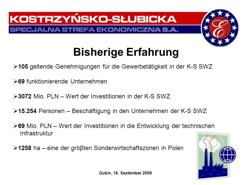 Bisherige Erfahrung Gubin, 18. September 2009 105 geltende Genehmigungen für die Gewerbetätigkeit in der K-S SWZ 69 funktionierende Unternehmen 3072 M
