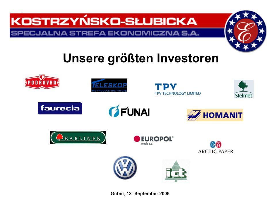 Unsere größten Investoren Gubin, 18. September 2009