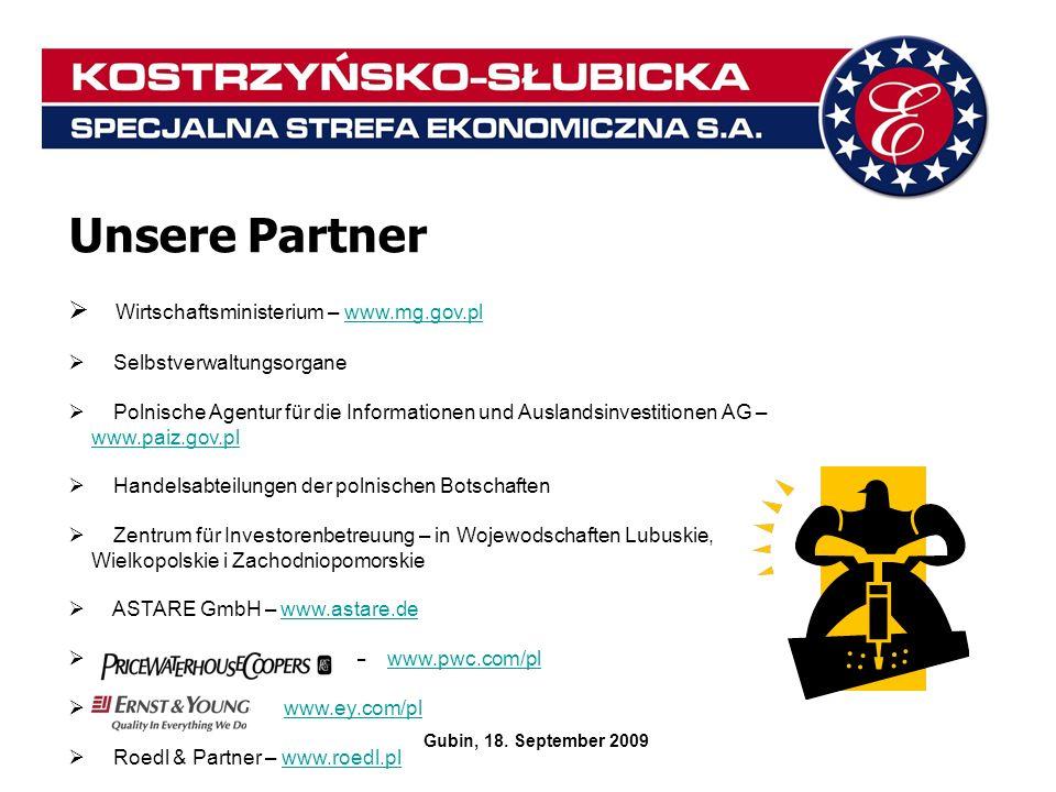 Unsere Partner Wirtschaftsministerium – www.mg.gov.plwww.mg.gov.pl Selbstverwaltungsorgane Polnische Agentur für die Informationen und Auslandsinvesti